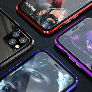 Metal Magnetic Adsorption Case For iPhone 11 Pro X XS Max XR Double-Sided Glass Magnet Cover For iPhone 7 8 6 6s Plus Se 2020