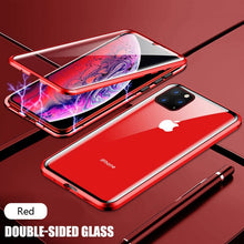 Load image into Gallery viewer, Metal Magnetic Adsorption Case For iPhone 11 Pro X XS Max XR Double-Sided Glass Magnet Cover For iPhone 7 8 6 6s Plus Se 2020