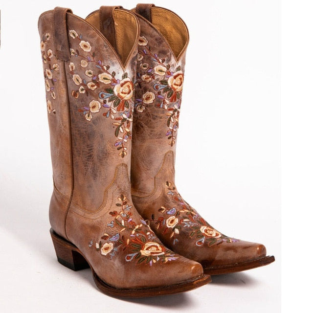 Women Boots 2020 Fashion Floral Embroidered Women Shoes Cowgirl Mid-Calf Riding Boots Leather Boots Vintage Riding Boots Women