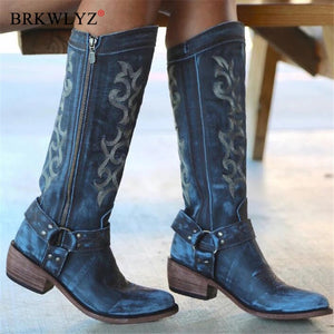 Winter 2020 Women's Shoes Pointed Toe Embroidery Chelsea Knee-high Boot Chunky Heel Cowboy Shoes Side Zipper Western Boots Women