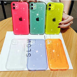 Luxury Glitter Powder Transparent Case For iPhone 11 Pro XS Max X XR 7 8 Plus SE 2020 Candy Color Soft Silicone Shockproof Cover