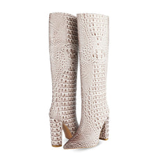Load image into Gallery viewer, 2020 Fashion Crocodile Print Knee High Boots Women Boots Faux Leather Square High Heel Long Boots Pointed Toe Winter Boots Woman