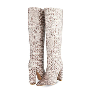2020 Fashion Crocodile Print Knee High Boots Women Boots Faux Leather Square High Heel Long Boots Pointed Toe Winter Boots Woman