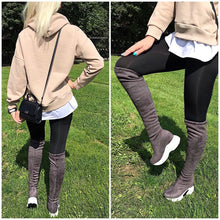 Load image into Gallery viewer, QUTAA 2020 Stretch Fabrics Over The Knee Boots Height Increasing Round Toe Women Shoes Autumn Winter Casual Long Boots Size34-43
