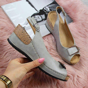 Women Summer Open Toe Comfy Wedge Bow Sandals Super Soft Premium Orthopedic Low Heels Walking Sandals Toe Corrector Cusion 2020