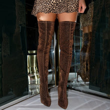 Load image into Gallery viewer, 2020 Faux Suede Super High Heels Women Thigh High Boots Elegant Thin Heeled Stretch Over The Knee Boots Autumn Winter Long Boots