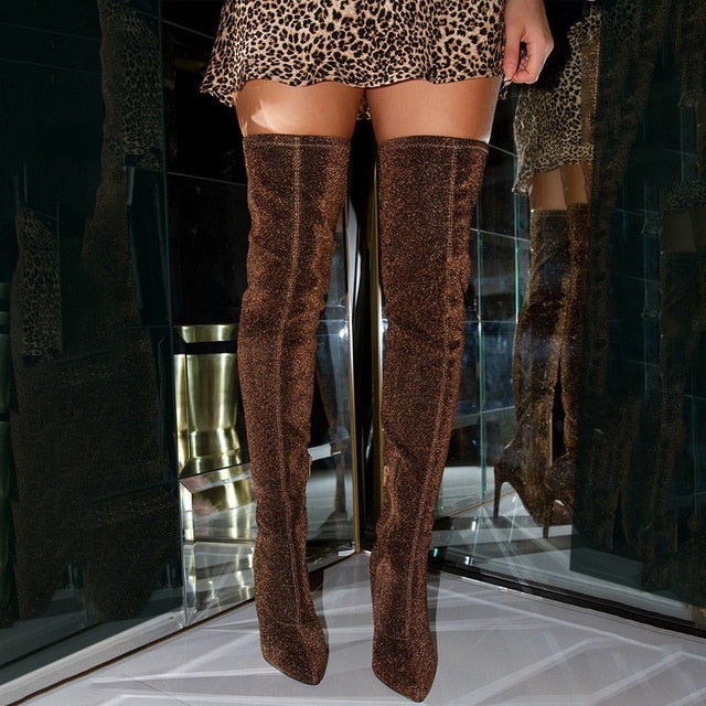 2020 Faux Suede Super High Heels Women Thigh High Boots Elegant Thin Heeled Stretch Over The Knee Boots Autumn Winter Long Boots