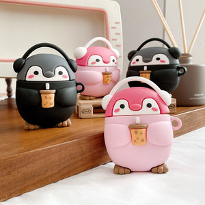 Cute Milk tea music penguin 3D Case For AirPods 1 2 pro Charging Box Soft Silicone Wireless Bluetooth Earphone Protective Cover