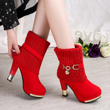 Load image into Gallery viewer, Winter Women Boots Christmas Ankle Boots High Heels Ladies Shoes Femme Warm Short Boots Red Black Shoes Plus Size 34-43
