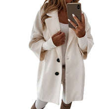 Load image into Gallery viewer, 2020 Women Long Woolen Autumn Winter Coat Jacket Three Quarter Sleeve Loose Coat High Street Ofiice Ladies Long Jacket