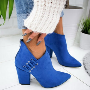 Dropship 2020 High Heels Women Shoes Winter Autumn Women Boots Chain Shoes Casual Woman Pumps Warm Ankle Boots Mujer Zapatos