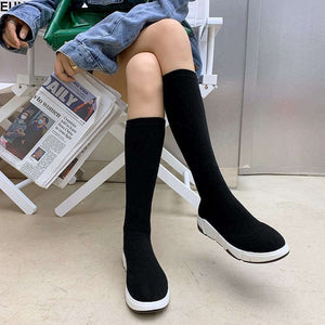 Sexy Slim Woman Elastic Flock Over The Knee Boots Women Shoes 2020 Autumn Winter Ladies High Heel Overknee Thigh High Botas B7