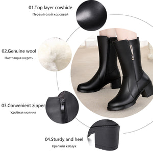 MBR FORCE Women boots for winter 2020 new genuine leather women dress boot wool woman big size 41 42 43 women Military boots