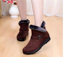 Load image into Gallery viewer, Winter boots women shoes 2020 solid flat plush warm snow boots women sneakers zipper winter ankle boots casual shoes woman