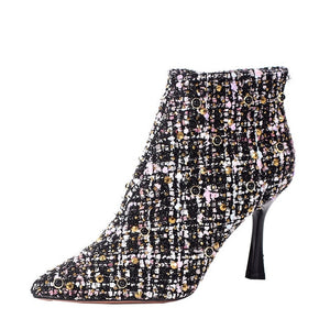 2020 Autumn Winter Women Woolen rhinestone Ankle Boots Plum heel Pointed Toe Thick High Heels Party Shoes Woman High Heel Boots