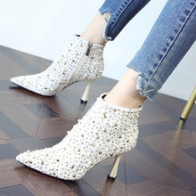 Load image into Gallery viewer, 2020 Autumn Winter Women Woolen rhinestone Ankle Boots Plum heel Pointed Toe Thick High Heels Party Shoes Woman High Heel Boots