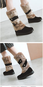 Gykaeo Hot Sell Women Warm Snow Boots 2020 Autumn and Winter Mother Leisure Flat Bottom Plus Size Cotton Shoes Woman Botas Mujer