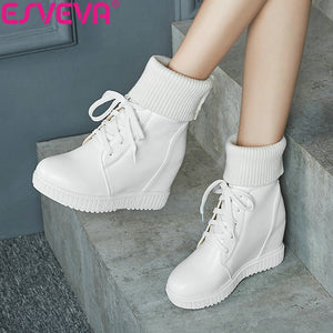ESVEVA 2020 Women Boots Platform Shoes Wedges Lac Up Ankle Boots Height Increasing Woman Shoes 34-43 Winter Boots for Girls