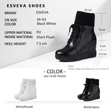 Load image into Gallery viewer, ESVEVA 2020 Women Boots Platform Shoes Wedges Lac Up Ankle Boots Height Increasing Woman Shoes 34-43 Winter Boots for Girls