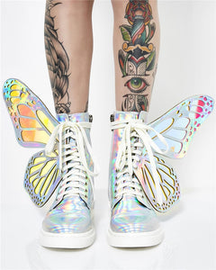 Prova Perfetto 2020 Butterfly Wings Women Sneakers Lace up Platform Ladies Shoes Shiny High Tops Flat Casual Rubber Botas Mujer