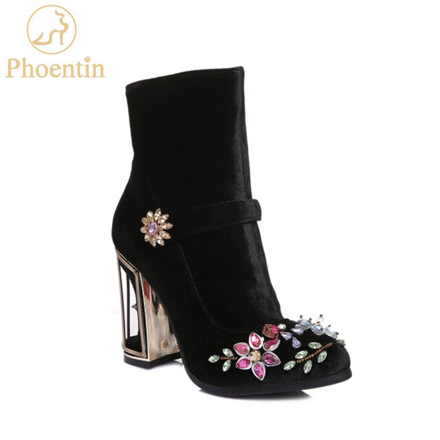 Phoentin black rhinestone flower women boots for wedding retro ladies ankle boots bird cage high heels zipper velvet shoes FT466