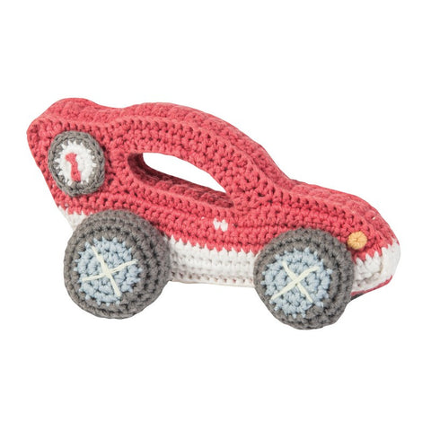 Sebra - Crochet Rattle, Red Race Car - vivalatoys.com