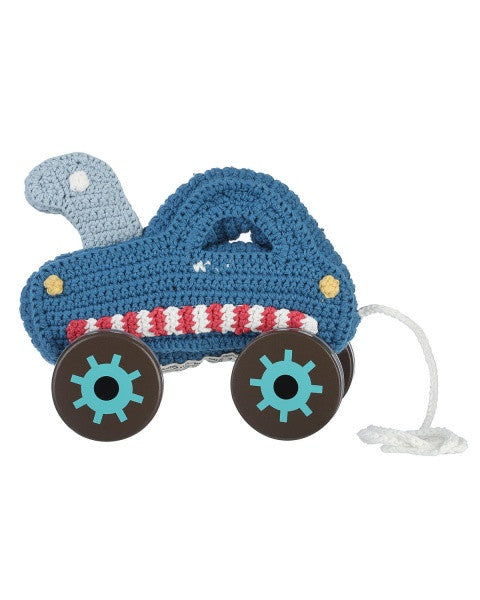 Sebra - Crochet Tow Truck On Wooden Wheels, Blue - vivalatoys.com
