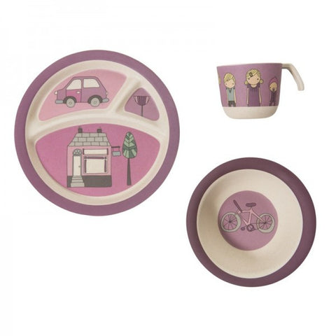 Sebra - Bamboo Dinner Set, Village Girl - vivalatoys.com