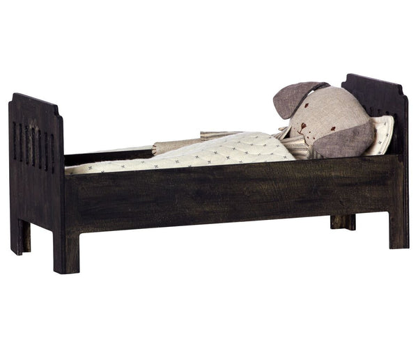 Maileg - Large Wooden Bed, Black - vivalatoys.com