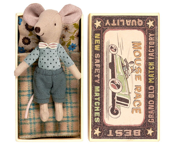Maileg - Mouse, Big Brother In Box, With Bow Tie
