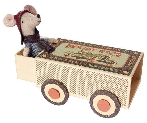 Maileg - Big Brother Racer Mouse, Matchbox Car - vivalatoys.com