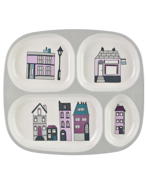 Sebra - Melamine Plate W/4 Rooms, Village Girl - vivalatoys.com