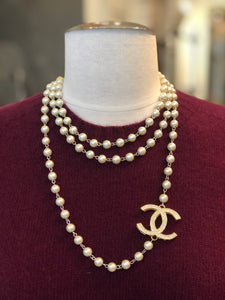 Suzy Double Side CC Pearl Long Strand Necklace