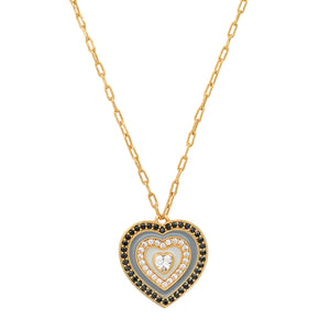 Tai Grey Enamel, Black CZ Heart Necklace
