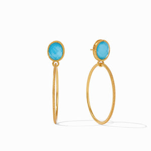Julie Vos Verona Statement Earring Iridescent Pacific Blue