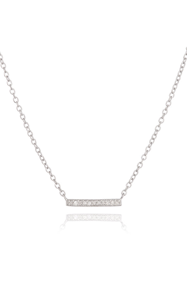 Adina Reyter Tiny Solid Pave Diamond Bar Necklace in Silver