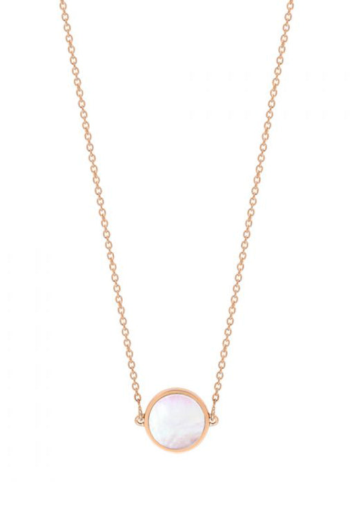 Ginette NY Mini Ever Pink MOP Disc Necklace