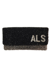 Moyna Two Tone Beaded Clutch With Monogram As Sampled