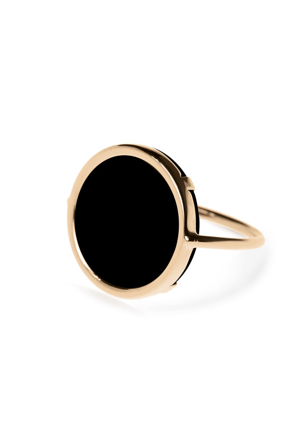 Ginette NY 18K Rose Gold Onyx Disc Ring