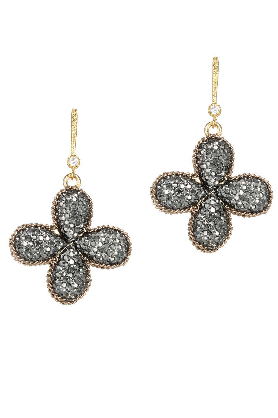 Theia Double Sided Single Tier Clover Drop Earring Antique Finish