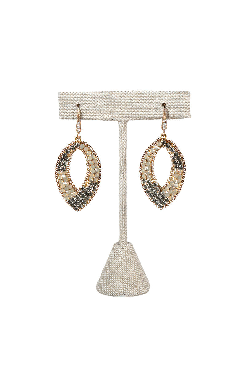 Theia Grey Opal and Black Diamond Swarovski Crystal Oval Earring