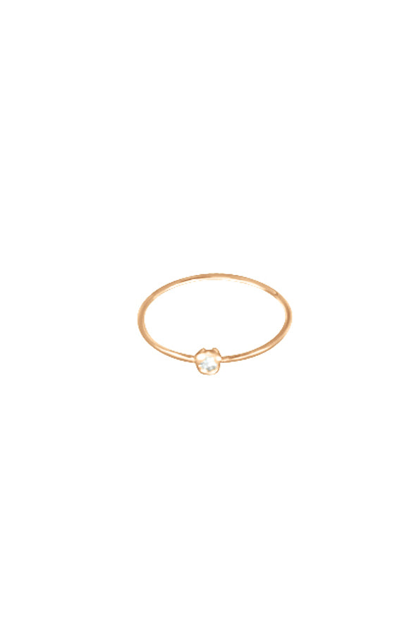 Ginette NY 18K Rose Gold Lonely Diamond Ring