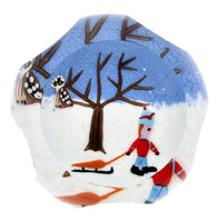 Perthshire Holiday Paperweight Boy With Sled