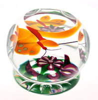 Selkirk Glass Butterfly and Flower Paperweight 120/200