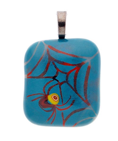 Hand made fused glass Spider and Web Pendant