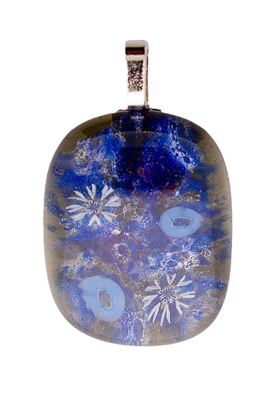 Hand made fused glass millefiori pendant - Universe Series
