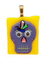 Hand made fused glass Day of The Dead Skull Pendant