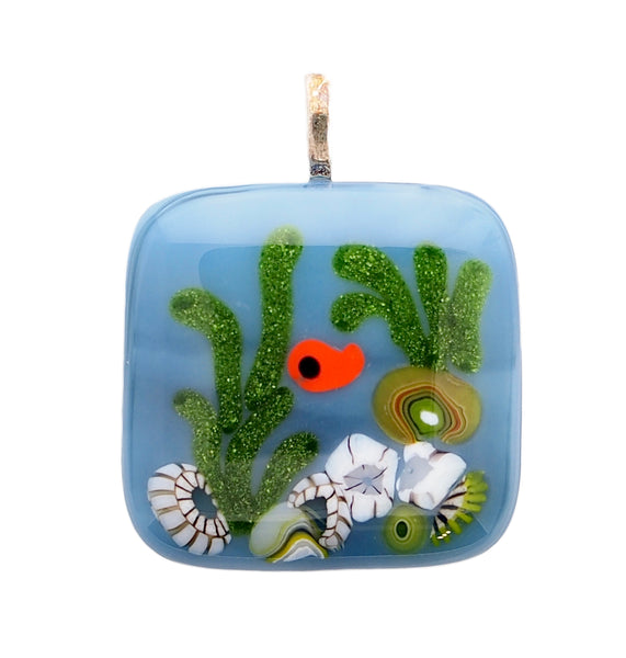 Hand made fused glass Fish and Coral  pendant