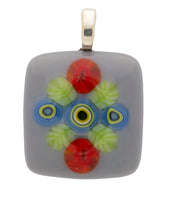 Hand made fused glass millefiori pendant