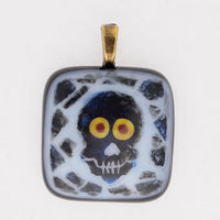 Hand made fused glass Skull Pendant